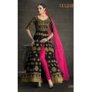 Party Wear Black & Pink Banglori Silk Slit Salwar Suit  - 1704