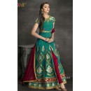 Festival Wear Green & Maroon Filament Silk Slit Salwar Suit  - 1707