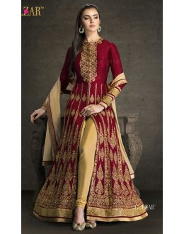 Wedding Wear Maroon & Beige Banglori Silk Slit Salwar Suit  - 1702