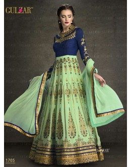 Designer Blue & Green Faux Georgette Anarkali Suit  - 1705