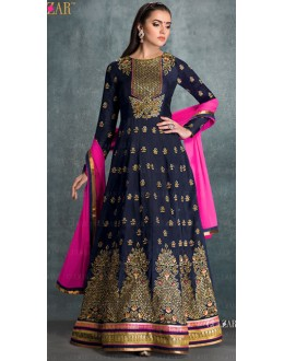 Traditional Blue Georgette Anarkali Suit - 1602