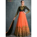 Party Wear Black Faux Georgette Anarkali Suit - 1607