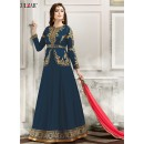 Festival Wear Blue Banglori Silk Anarkali Suit  - 1803 Blue