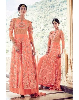 Party Wear Peach Naylon Net Lehenga Suit  - 16002