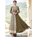 Festival Wear Mehendi Green Faux Georgette Anarkali Suit  - 16006
