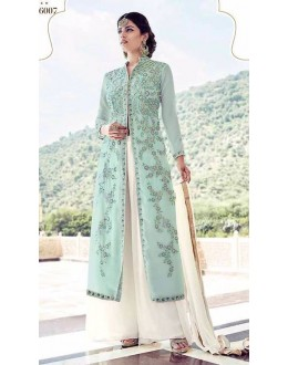 Festival Wear Sky Blue Faux Georgette Palazzo Suit  - 16007