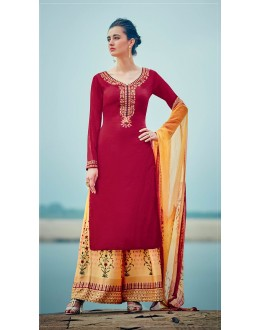 Office Wear Red Palazzo Suit - 7002