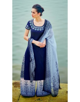 Ethnic Wear Dark Blue Palazzo Suit - 7003