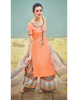 Pure Cotton Satin Orange Palazzo Suit - 7004