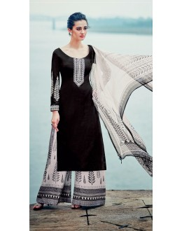 Pure Cotton Satin Black Palazzo Suit - 7005
