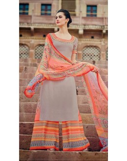 Office Wear Grey & Orange Palazzo Suit - 7007