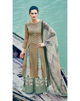 Pure Cotton Satin Brown Palazzo Suit - 7008