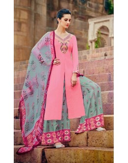 Pure Cotton Satin Pink Palazzo Suit - 7009