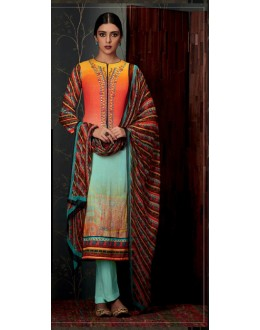 Ethnic Wear Peach & Aqua Blue Pure Pashmina Salwar Suit  - 6807