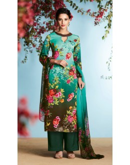 Office Wear Sea Green Palazzo Suit - 6903