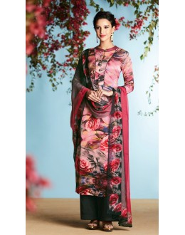 Office Wear Pink Pure Georgette Palazzo Suit - 6904