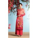 Office Wear Peach Pure Georgette Satin Palazzo Suit - 6905