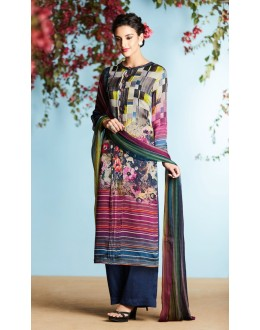 Casual Wear Multi-Colour Palazzo Suit - 6907