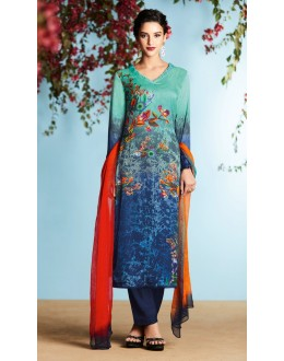 Ethnic Wear Blue Pure Georgette Palazzo Suit - 6908
