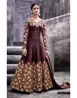Party Wear Brown Taspa Silk Anarkali Suit - 6772