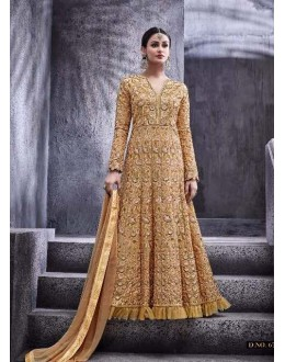 Golden Colour Dove Silk Anarkali Suit - 6773