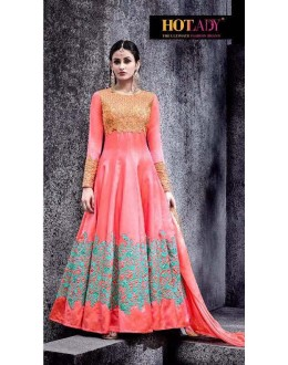 Designer Peach Swiss Shadow Anarkali Suit - 6774