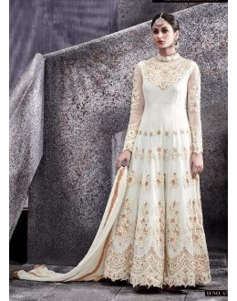 Festival Wear White Net Anarkali Suit - 6775