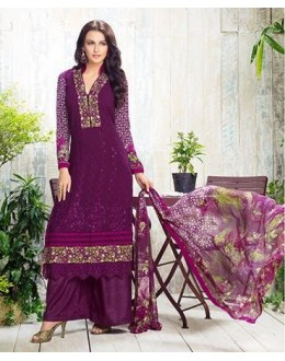 Ethnic Wear Purple Georgette Palazzo Suit - 410