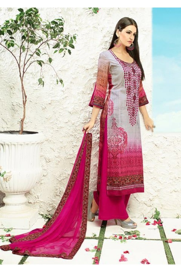 Office Wear Grey & Pink Satin Palazzo Suit - 505