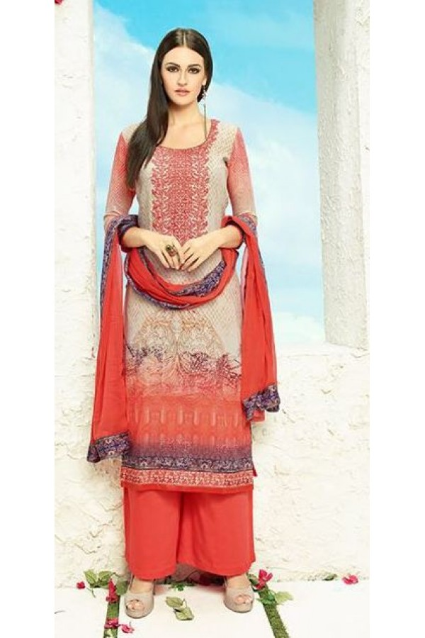 Ethnic Wear Grey & Peach Satin Palazzo Suit - 506