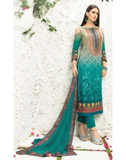 Office Wear Grey & Green Satin Salwar Kameez - 507