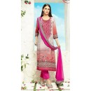 Office Wear Grey & Pink Satin Salwar Kameez - 508