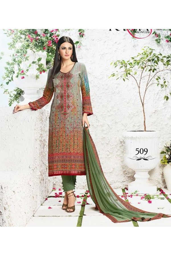 Office Wear Multicolour Satin Salwar Suit - 509
