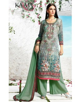 Office Wear Light Green Satin Palazzo Suit - 511