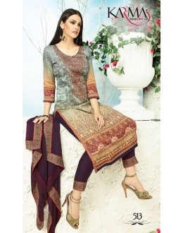 Office Wear Multicolour Satin Salwar Suit - 513