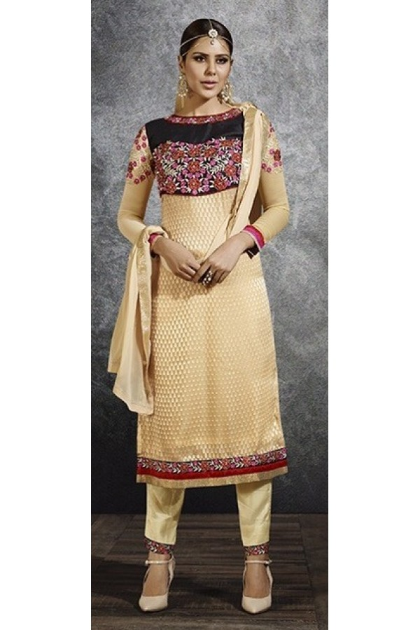 Party Wear Beige Brasso Salwar Suit - 3061
