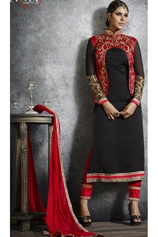 Party Wear Black & Red Salwar Suit - 3066