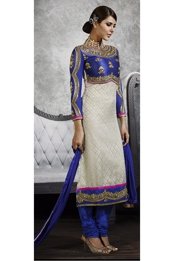 Party Wear Cream & Blue Salwar Suit - 3061