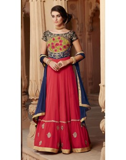Party Wear Red & Georgette Embroidered Anarkali Suit  - 1302
