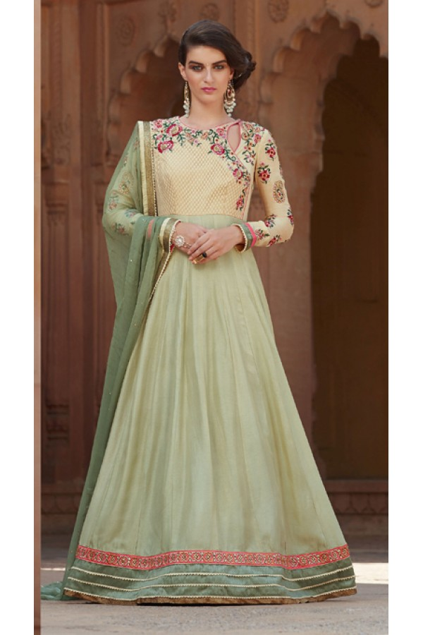 Traditional Cream & Pista Green Georgette Anarkali Suit  - 1303