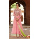 Festival Wear Pink & Green Silk Georgette Anarkali Suit  - 1304