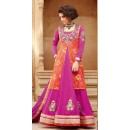 Designer Pink Net Jacquard Embroidered Anarkali Suit  - 1305