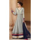 Festival Wear Grey & Blue Banarsi Jacquard Anarkali Suit  - 1307