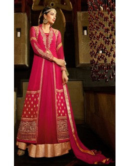 Party Wear Dark Pink Georgette Lehenga Suit - 9106