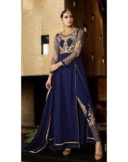 Designer Blue Royal Georgette Salwar Kameez - 9802