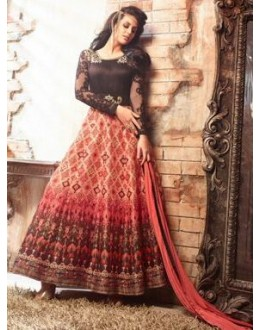 Traditional Black & Red Pure Satin Anarkali Suit - 3407