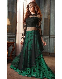 Fancy Black & Green Net Anarkali Suit - 19003-B