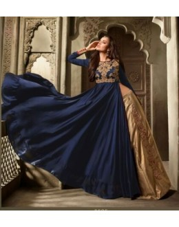 Party Wear Blue & Beige Pure Satin Lehenga Suit - 3505