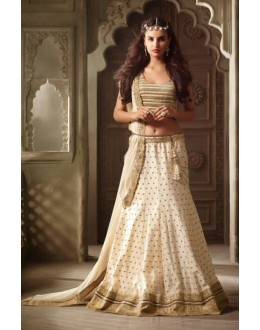 Party Wear Cream Net Lehenga Suit - 3506