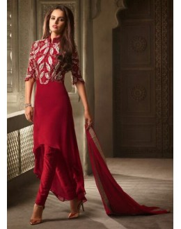 Party Wear Red Georgette Salwar Suit - 3503